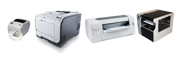 Impresoras de tinta, térmicas de etiquetas y tarjetas, láser y martillos. Plotter