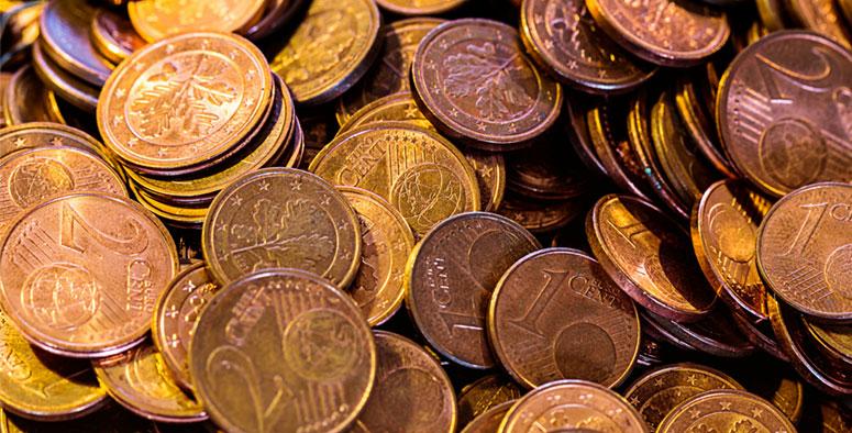 monedas de 1 y 2 céntimos de euro